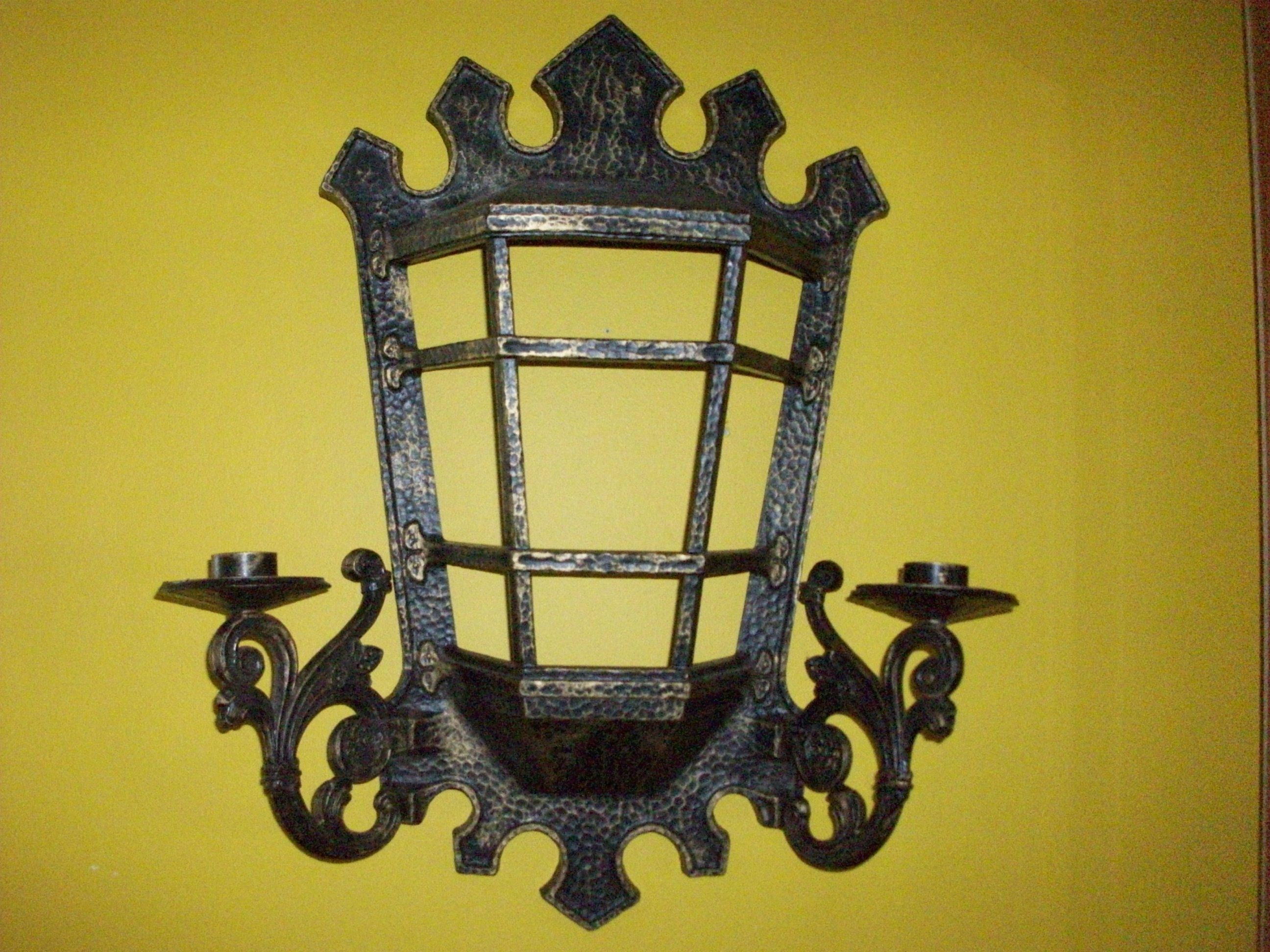 Homco Lantern Two - Arm Sconce, Black and Gold Sconce, Mediterranean ...