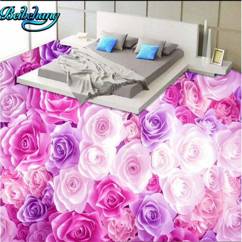 beibehang Romantic roses sea living room 3d floor tiles large custom ...