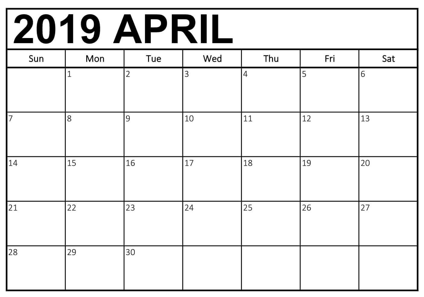 blank april 2019 calendar page  aprilcalendar2019