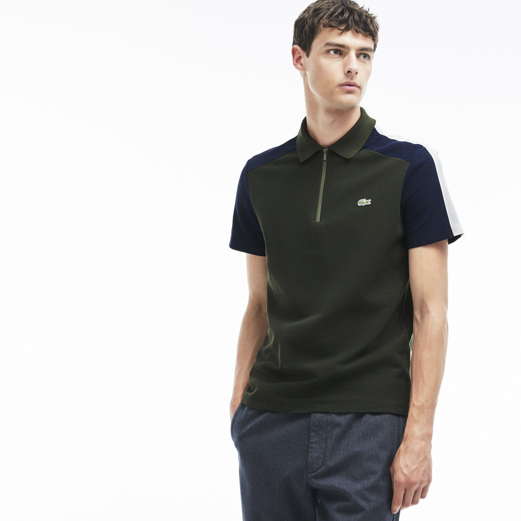 0979a3b8bb844 LACOSTE Men's Made In France Regular Fit Colorblock Piqué Polo -  sherwood/navy blue-flour. #lacoste #cloth #