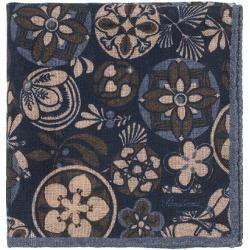 Stenströms Wool/Silk Printed Pocket Square Blue StenströmsStenströms