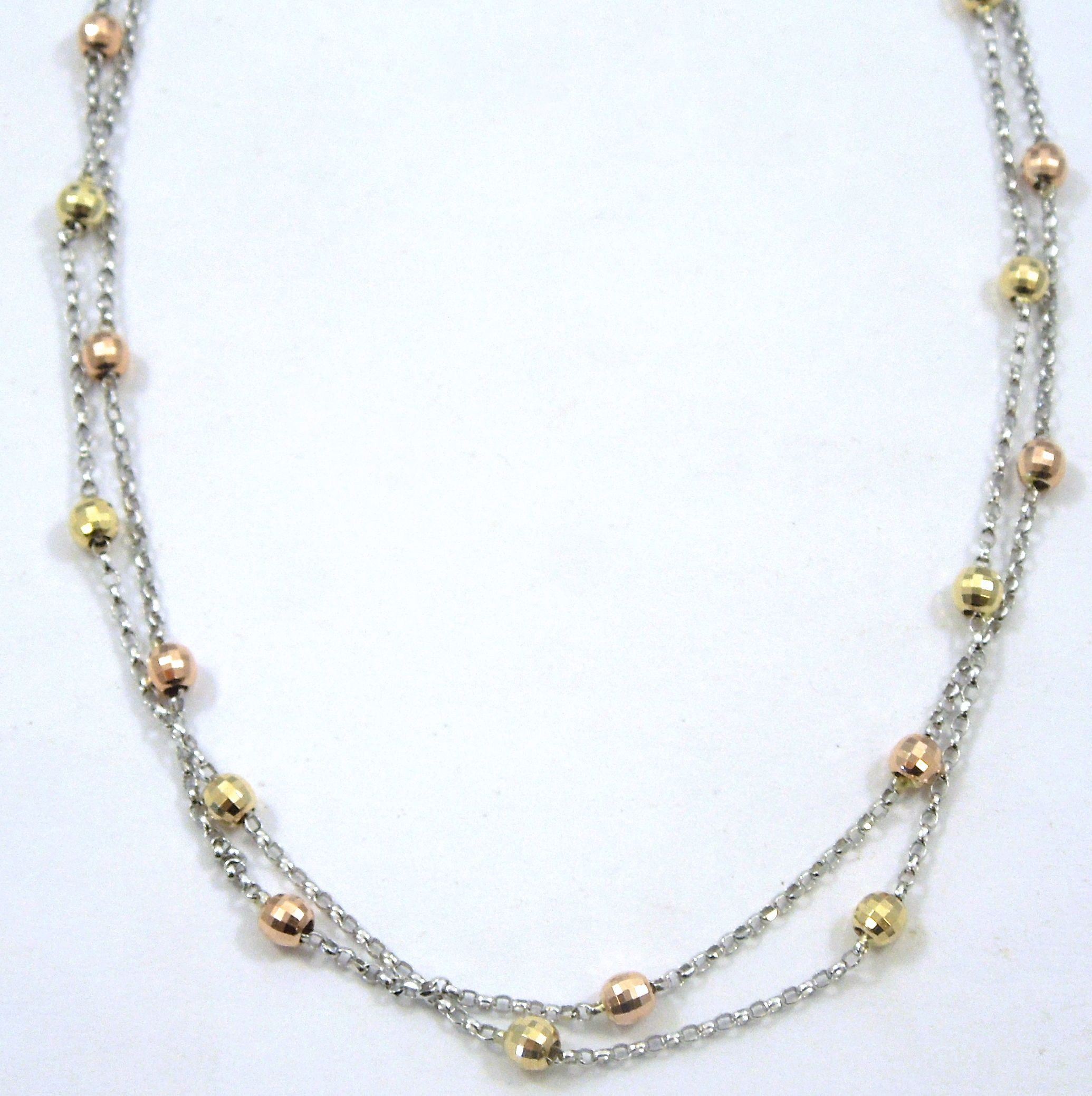 14k White Gold Double Strand Necklace with Rose Gold Yellow Gold