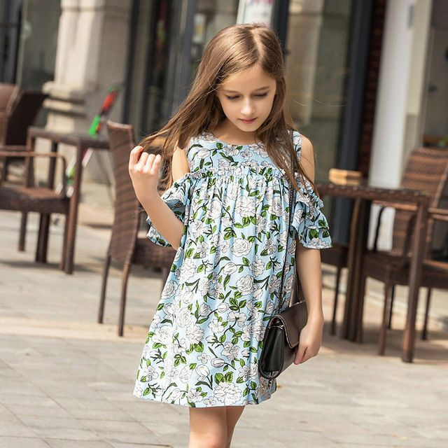 e55501067cf 2016 Summer Baby Girls Cotton Frock Designs Dresses for Kids Age 5 6 8 9 9  10 11 12 13 14T Years old Teen Girl Clothes Ukraine