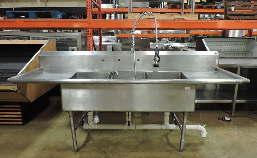 Commercial Stainless Steel 3 Compartment Sink W 2 Drainboards