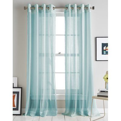 Striped Grommet Single Curtain Panel