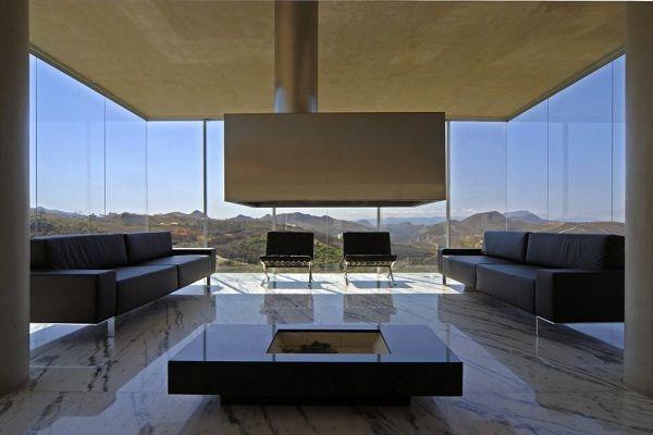 Modernes Wohnzimmer Granitboden Ledermöbel