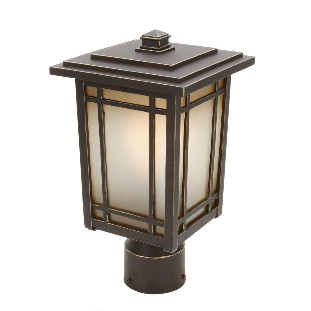 Home Decorators Collection Port Oxford 1 Light Oil Rubbed Chestnut Outdoor Post Mount Lantern 23116 Post Mount Lantern Post Mount Outdoor Lighting