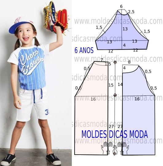 Faça a analise de forma detalhada do desenhe do molde camisola de criança. Camisola simples e belo, veste de forma descontraída e elegante. As medidas corr