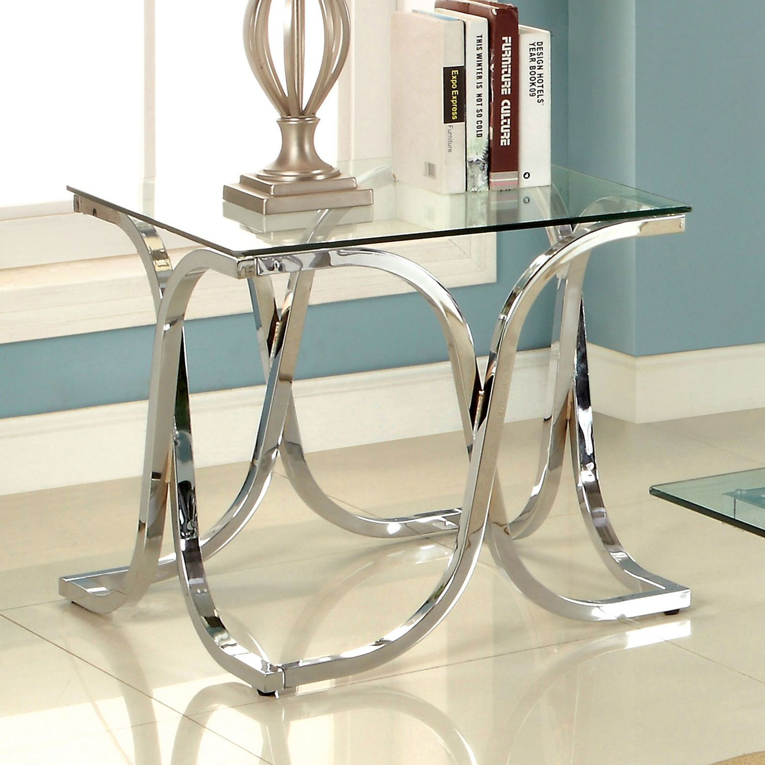 Furniture Of America Luxa Chrome Contemporary Coffee Table