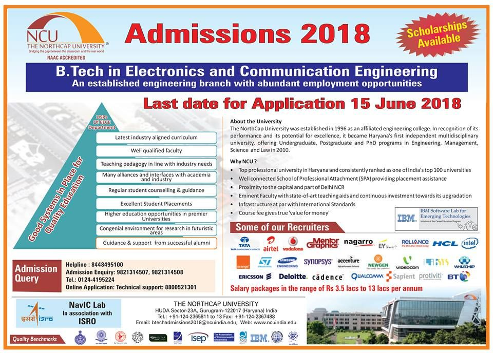 B Tech in ECE Admissions Open 2018! Visit: www ncuindia edu