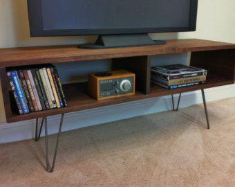 Mid Century Modern Tv Table Entertainment Console Black Walnut