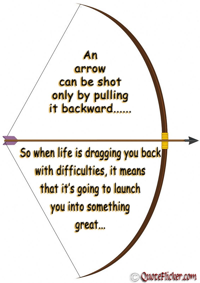 Arrow Quotes Life An Arrow Can Be Shot Onlypulling It Backward  My Life In