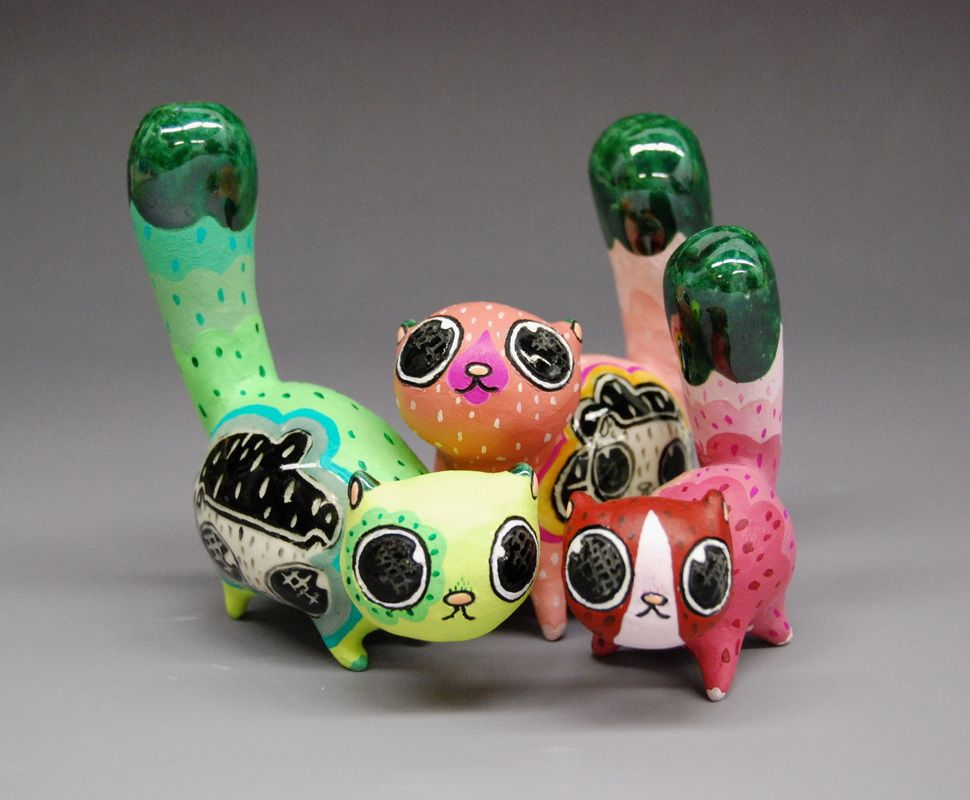 Samantha Bachman Ceramic Cats Ceramic Workshop Toy Craft Sculpture Projects