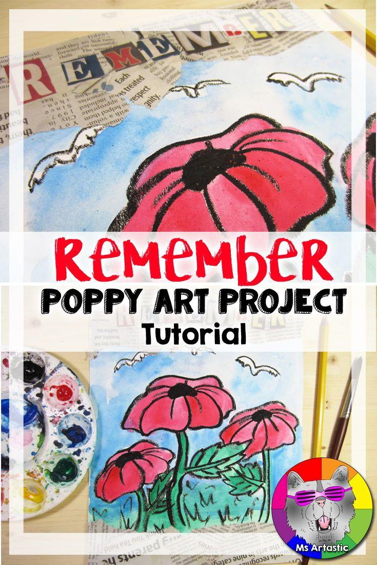 Poppy Art Project, Remembrance Day Art, Veterans Day Art #veteransdayartprojects