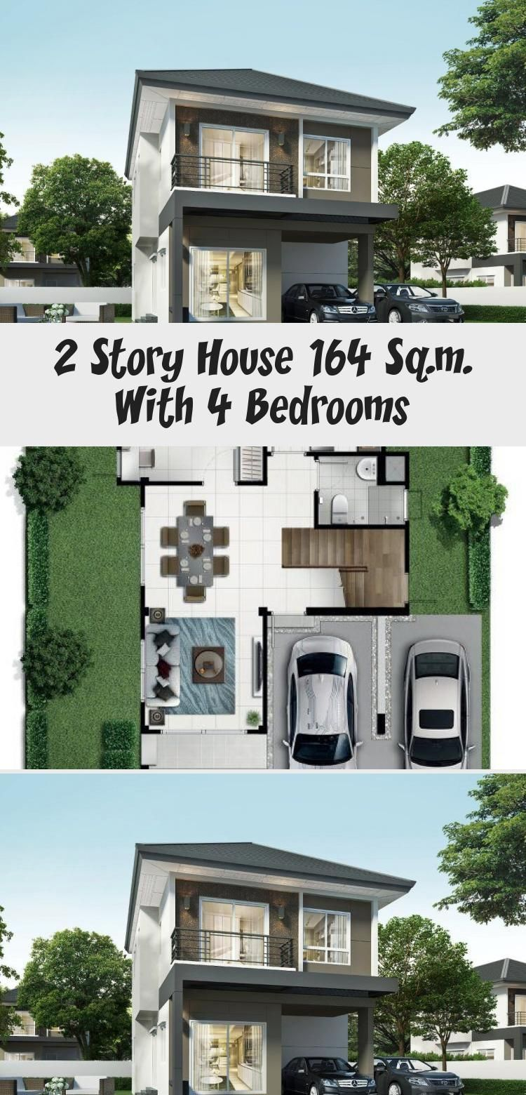 2 Story House 164 Sq M With 4 Bedrooms House Description Number Of Floors 2 Storey Housebedroom 4 Roomstoilet In 2020 2 Story Houses Story House Floor Plan 4 Bedroom