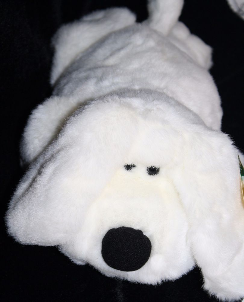 hugfun dog white plush stuffed animal soft toy 9
