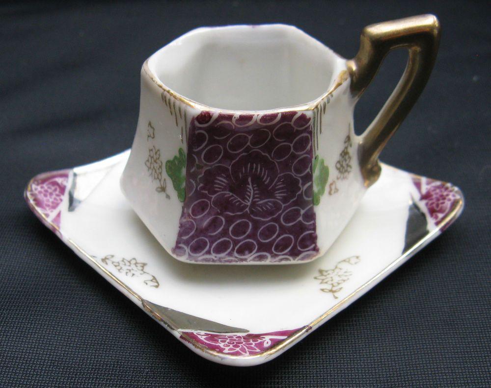 Vintage Japan Porcelain Miniature Cabinet Children's Hexagon Shaped Cup & Saucer #MojaeChina