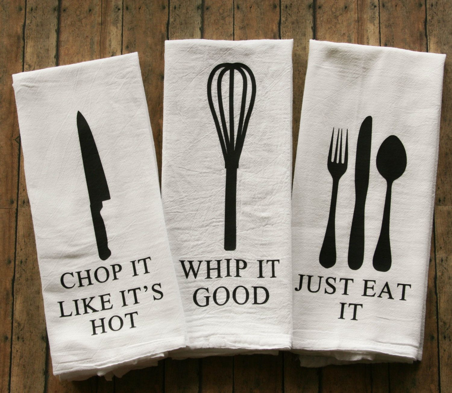 Funny Song Lyric Tea Towels - Flour Sack Towels - Just Eat It - Whip ...