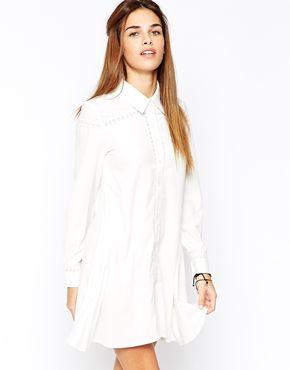 9dea7a5621e6 Glamorous Swing Shirt Dress with Crochet Insert