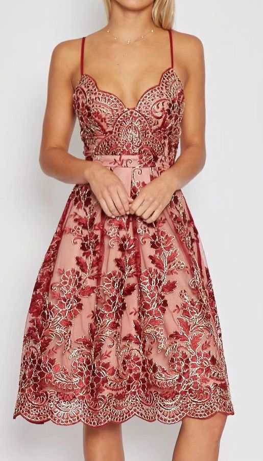 Spaghetti Strap Floral Lace Embroidery Party Dress | Bella ...