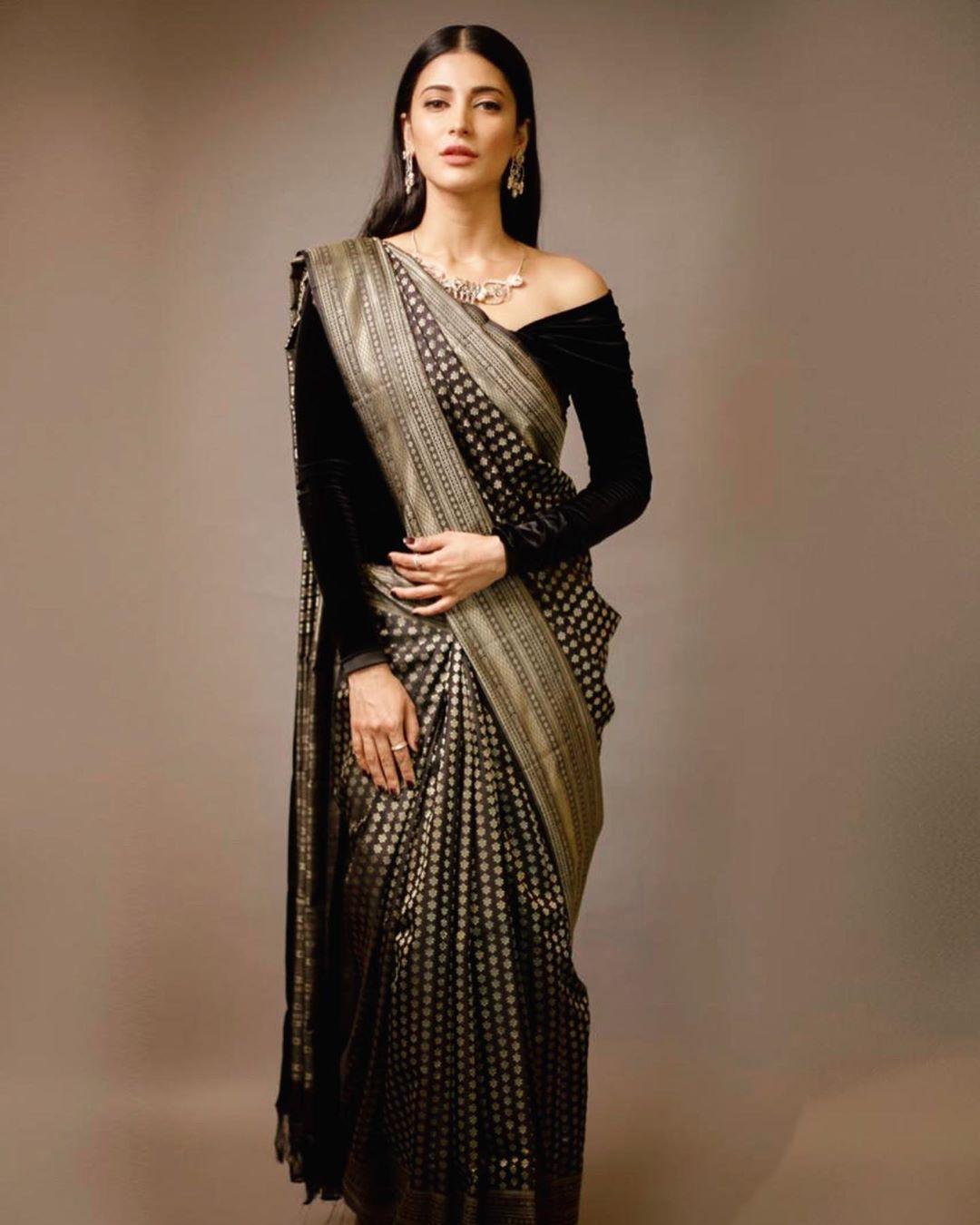 Black Pure Silk Georgette Style saree and blouse for women,saree for women,Indian saree,saree dress,wedding saree,traditional saree,saris
