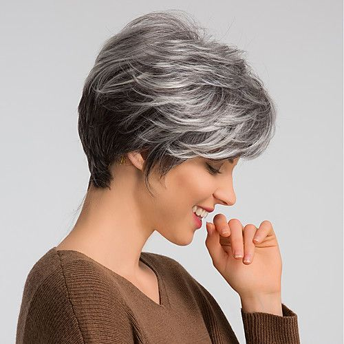 Human Hair Blend Wig Short Pixie Cut Dark Gray Mix