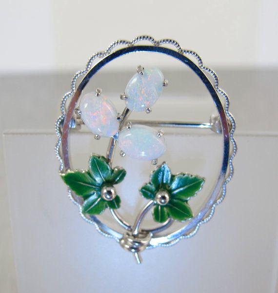 Krementz Brooch Silver Leaf Art Nouveau Clear Rhinestones 1.5 Inches