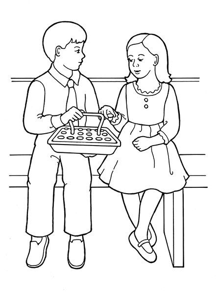 An illustration of a young girl and young boy partaking of