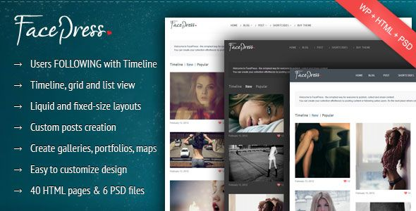 FacePress V Community Content Sharing WP Theme Blogger Template - Timeline blogger template