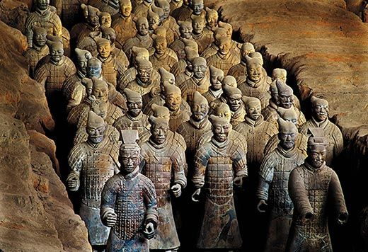 """The Terracotta Army or the """"Terra Cotta Warriors and Horses"""", is a collection of terracotta sculptures depicting the armies of Qin Shi Huang, the first Emperor of China. It is a form of funerary art buried with the emperor in 210–209 BC and whose purpose was to protect the emperor in his afterlife."""