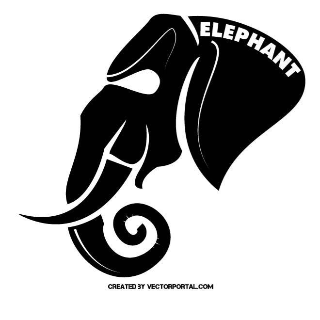 Elephant mascot vector silhouette. (With images ...