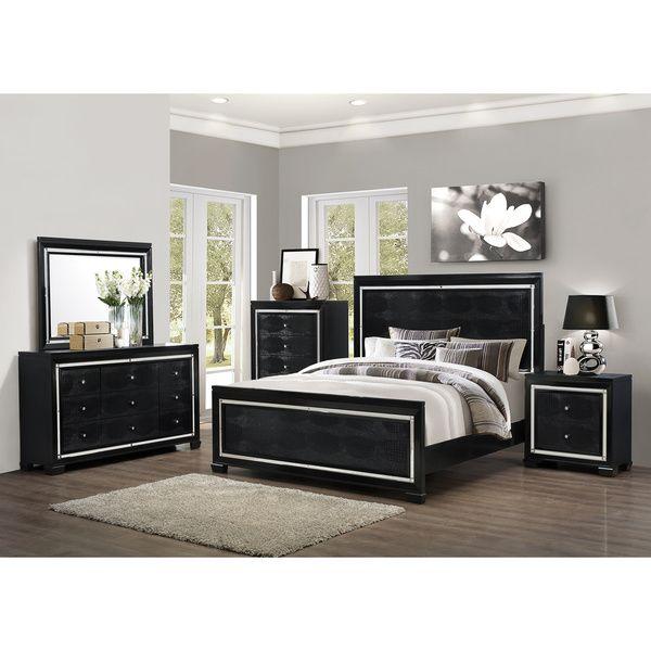 Art Van 6-piece Black Crocodile Finish Queen Bedroom Set | Dream ...