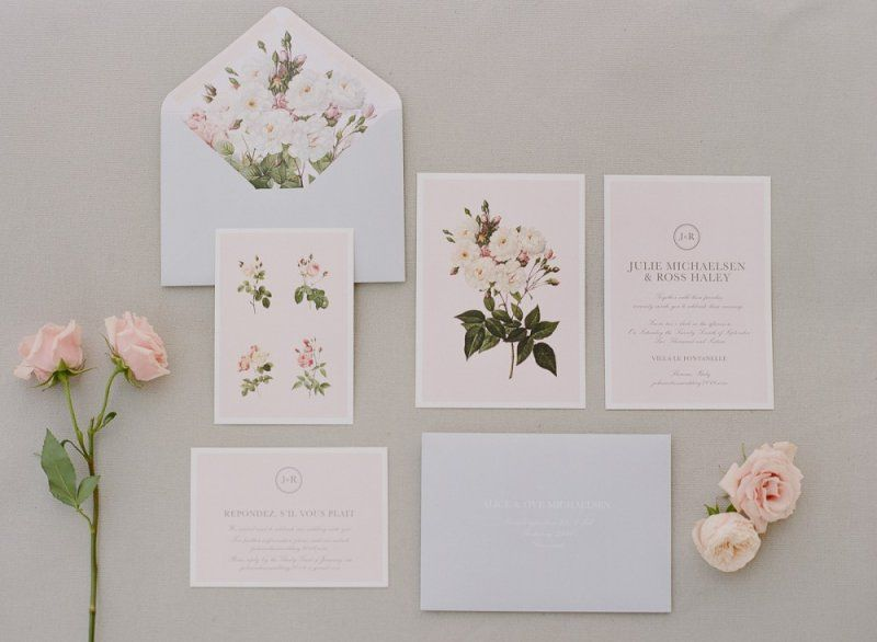 Pink vintage fine art invite stationary suite for our quintessentially romantic English wedding
