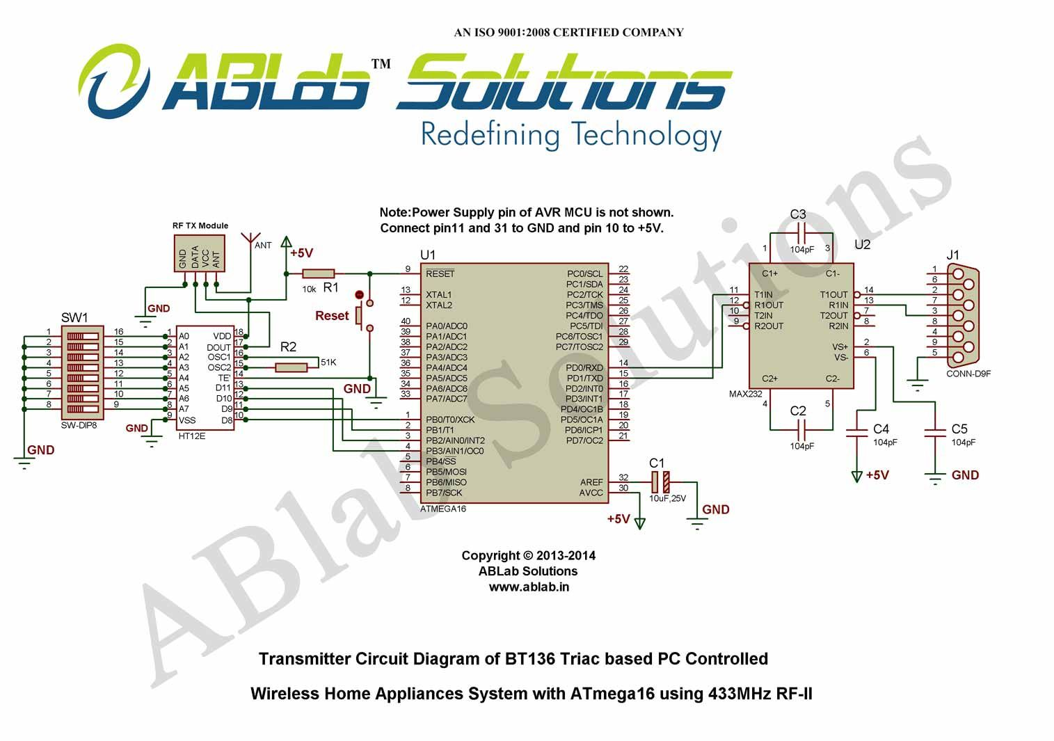 Bt136 Triac Based Pc Controlled Wireless Home Appliances System With Circuit Diagram Avr Atmega16 Microcontroller Using 433mhz Rf Ii Transmitter