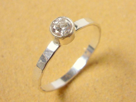 Cubic zirconia ring sterling silver ring stacking by WatchMeWorld, $40.00