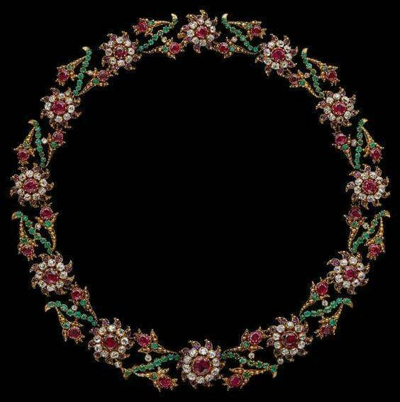 Giardinetti Necklace, c. 1760, gold, silver, diaminds, emeralds, rubies, The giardinetti jewel of which this necklace is an important example demonstrates that passion for color and flowers characteristic of the eighteenth century decorative arts was not reserved for ceramics and textiles but was also expressed in jewelry. Worn like a garland round the neck the flowers would add a festive note to the toilette of the woman who wore it, and delight the eyes of all who saw her.