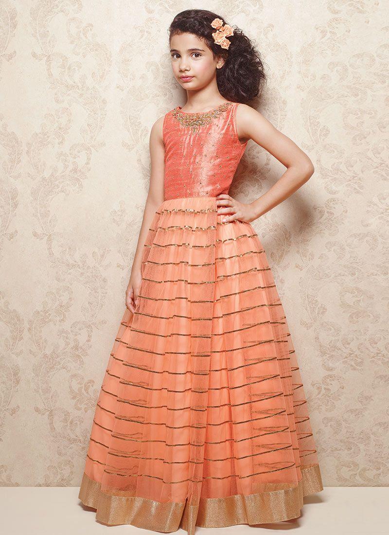 Doll peach net kids gown lehenga pinterest kids gown dresses