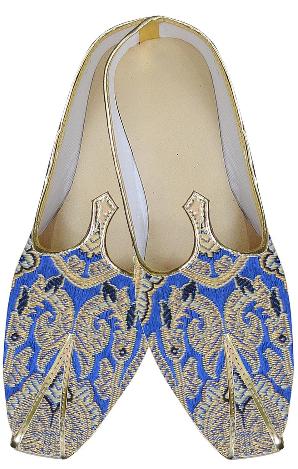 1e75a0e23ea INMONARCH Mens Special Royal Mojari Indian Wedding Shoes MJ144 9(M) Blue -golden