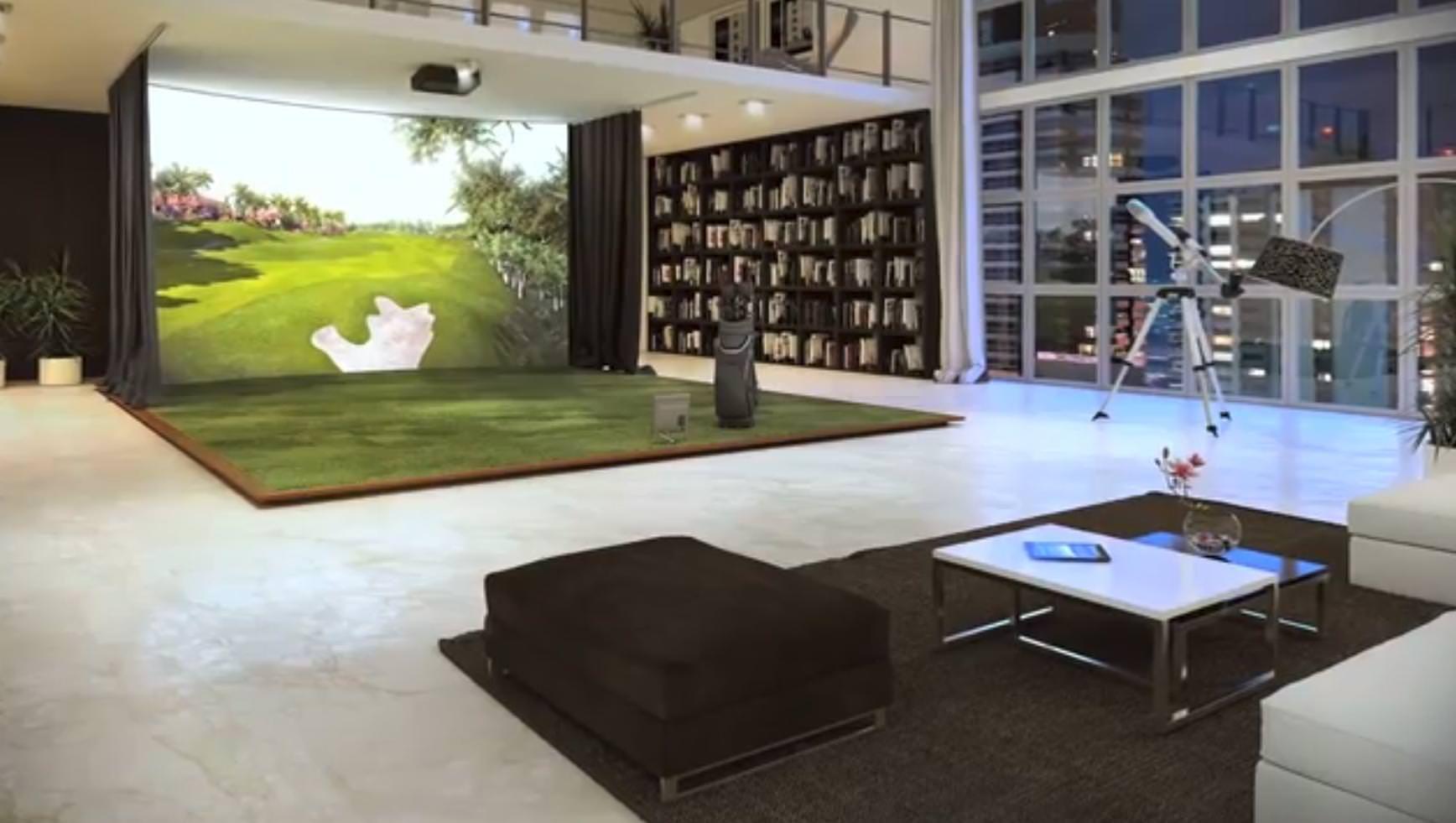 Indoor trackman golf golf room golf simulator room