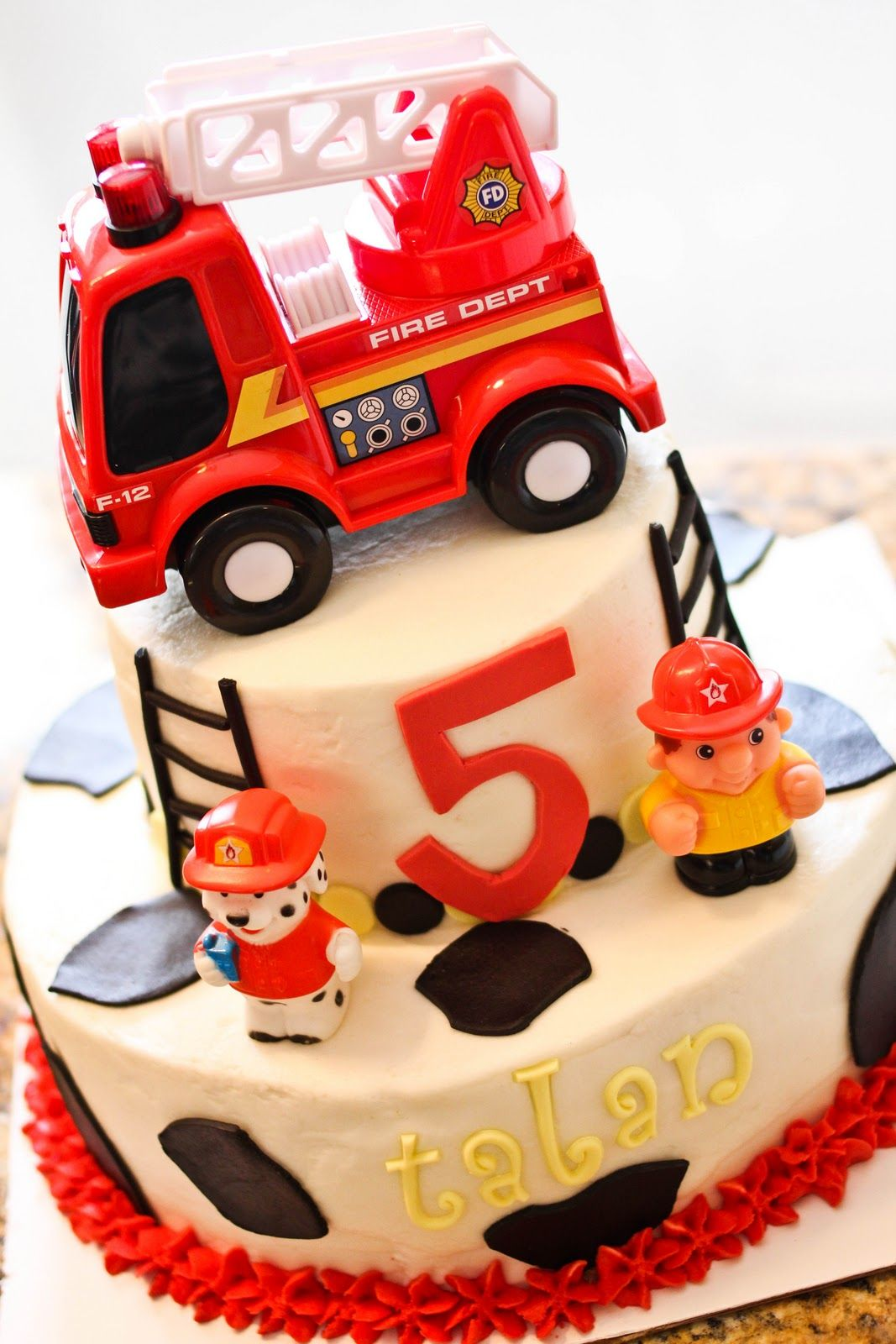 Dalmation Fire Truck Cake With Real Toy Fire Truck Firefighter