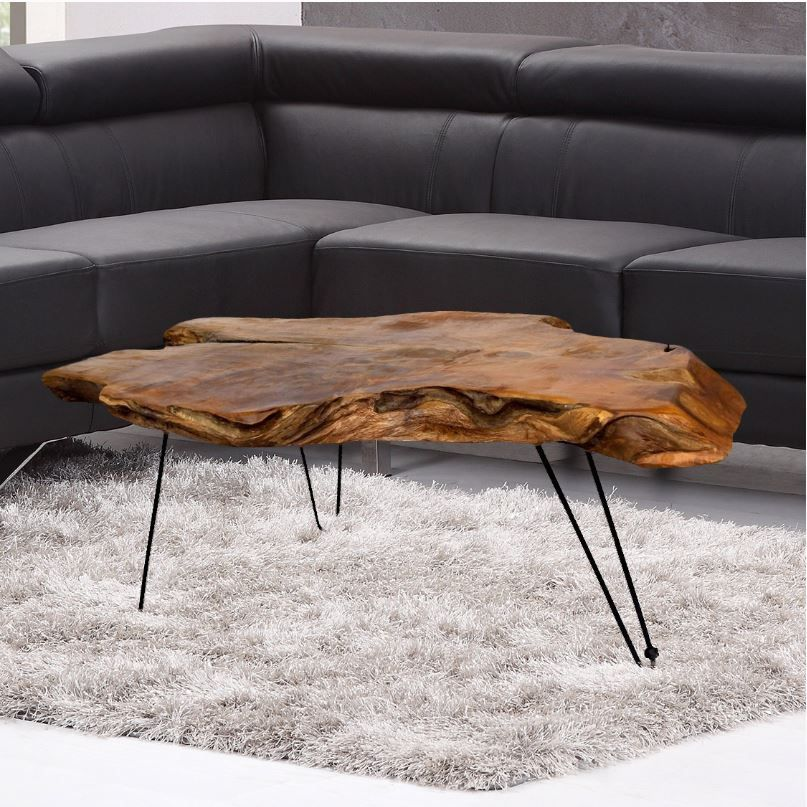 Sale Natural Teak Wood Slab Cut Coffee Table With Clear Coat