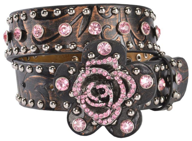 Girls nocona rose buckle western belt sheplers