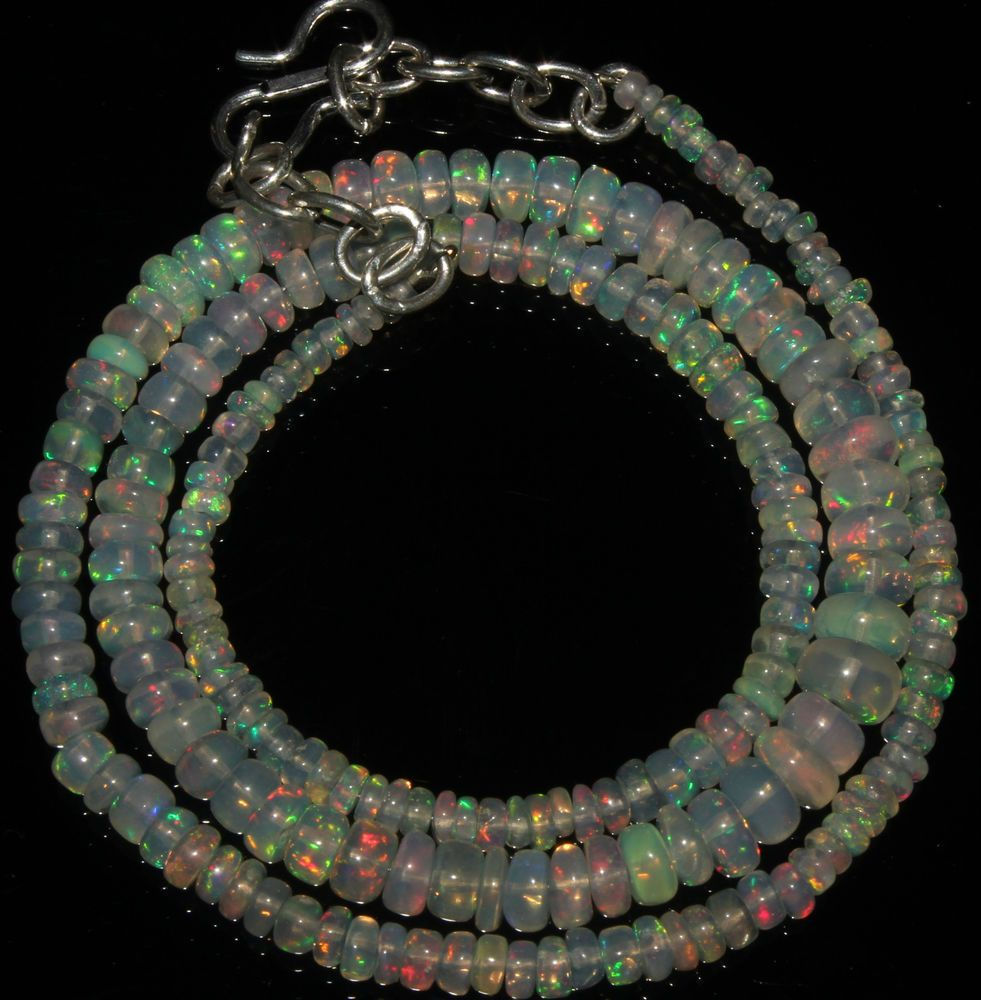 "39 Crts 1 Strands 2 to 6 mm 16"" Beads necklace Ethiopian Welo Fire Opal  A+55287"