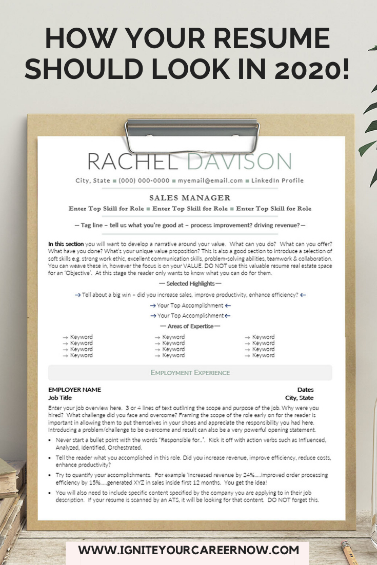 Get Noticed Get Hired With This Easy To Use 2020 Resume Cv