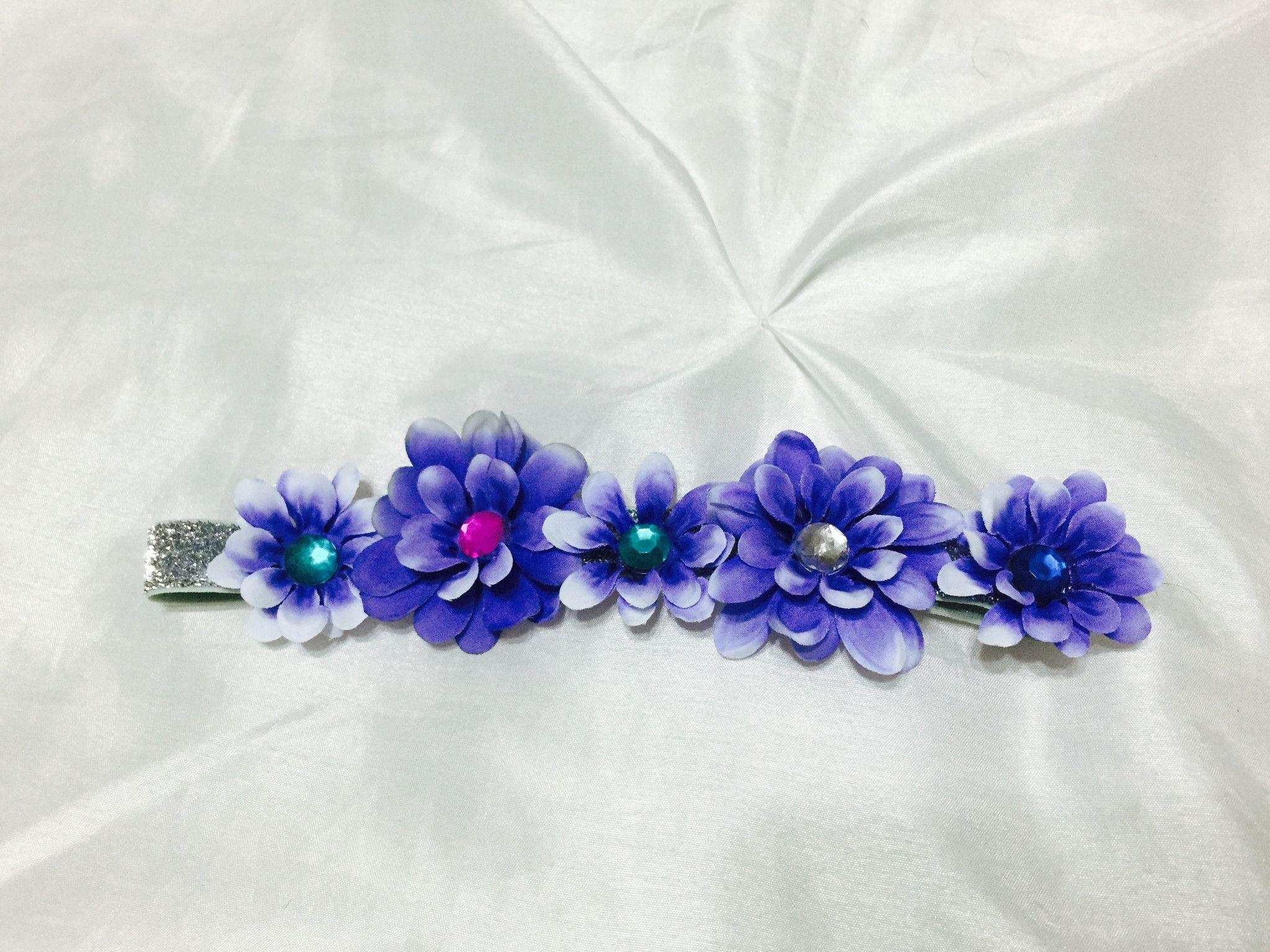 Purple Rave Flower Rhinestone Headband
