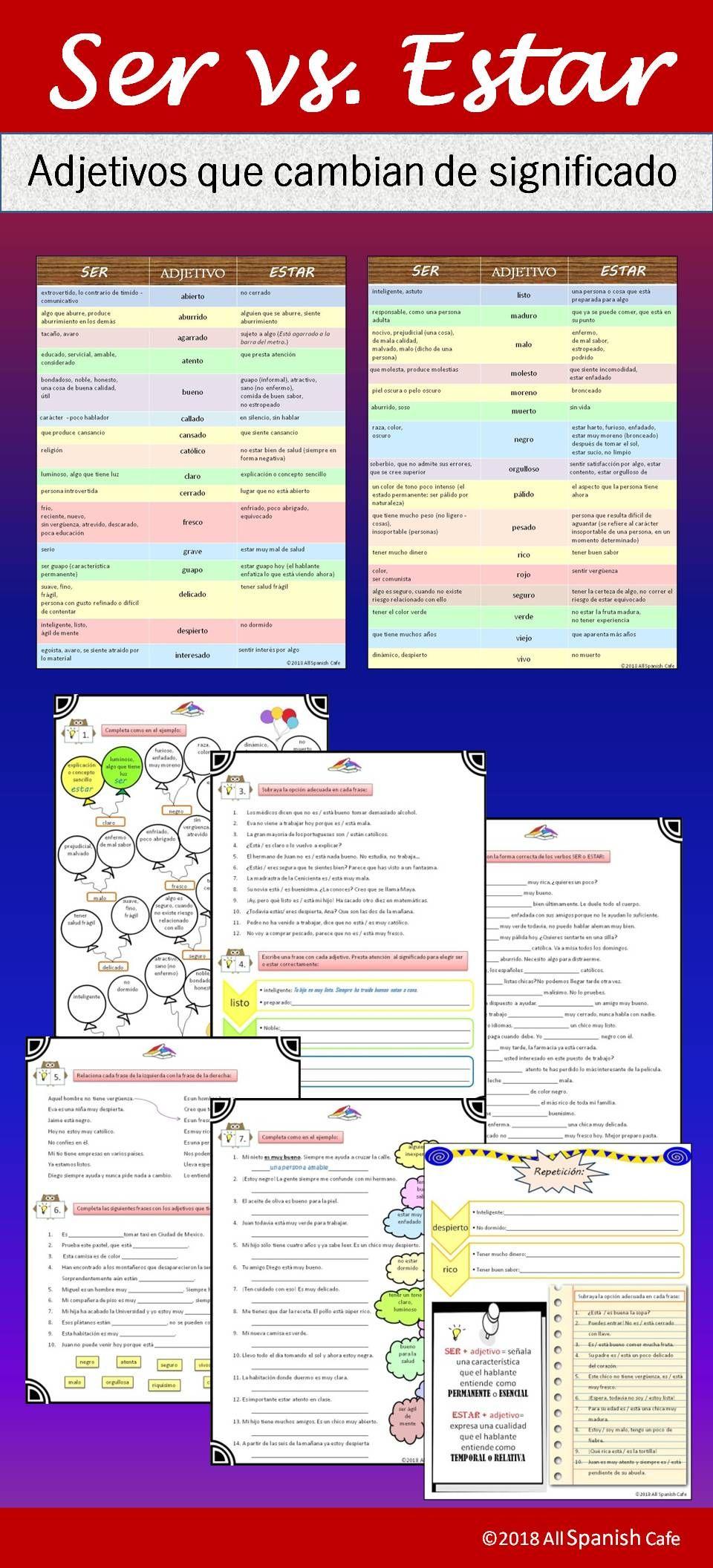Ser Vs Estar Adjetivos Que Cambian De Significado Ejercicios Spanish Teacher Resources Teaching Spanish Dual Language Classroom [ 2112 x 960 Pixel ]