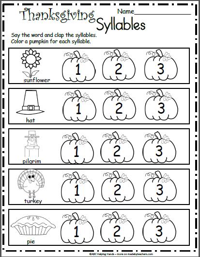 Free Kindergarten Worksheets for November Thanksgiving - Syllables ...