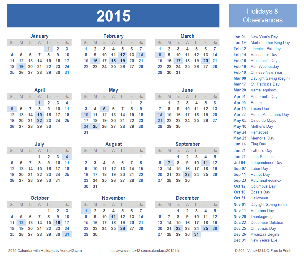 Download free printable 2015 Calendar Templates that you can ...
