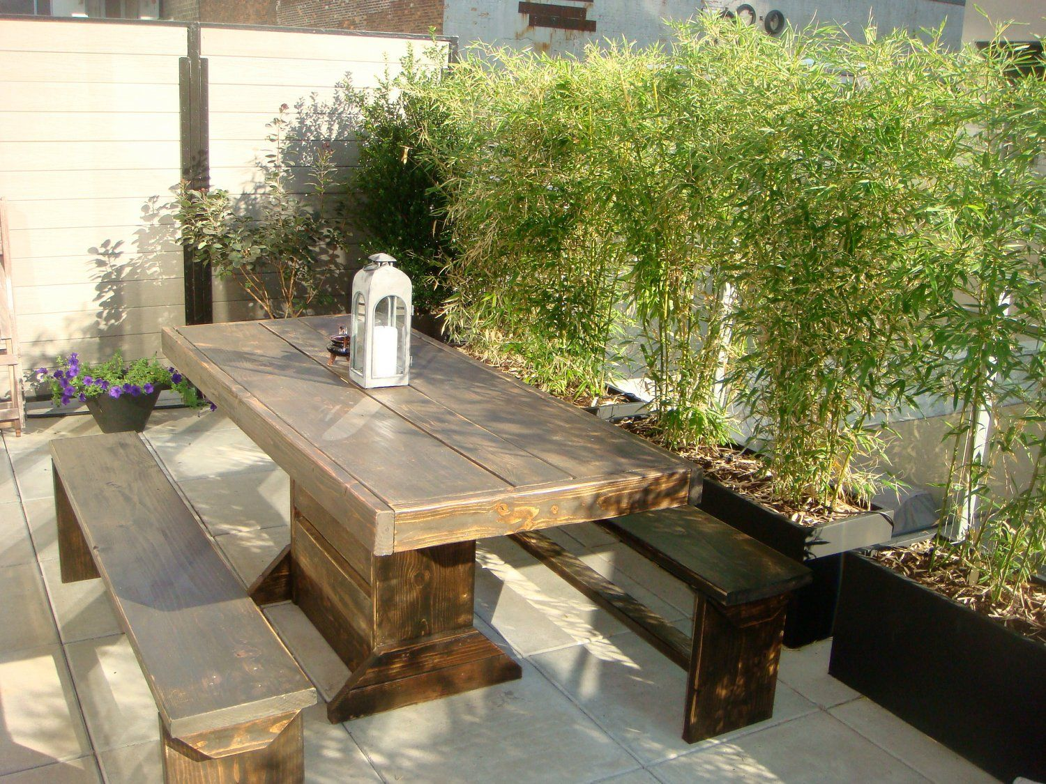 6 Foot Patio Table And Bench Set. The Set Includes 3u0027 X 6u0027