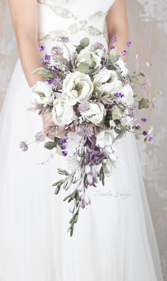 Cascade Wedding Bouquet, Provence Silk Flowers , Rustic Wedding Flowers, Boho Bridal Bouquet, Silk Weding Bouquet, Luxury Wedding Flowers